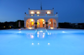 villa casa del sol pool night view